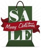 有问候丝带的圣诞节销售的,传染媒介例证购物带来 皇族释放例证