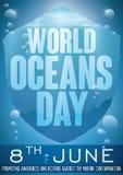 有问候消息的水下的盾世界海洋的天,传染媒介例证 免版税库存图片