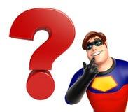 有问号标志的超级英雄 库存图片