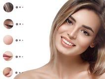 有问题和清楚的皮肤的,青年时期画象妇女组成概念 免版税库存图片