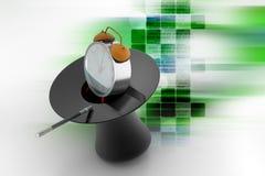 有闹钟的不可思议的帽子 免版税库存照片