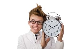 有闹钟的滑稽的医生 免版税库存图片