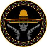 有阔边帽和两把手枪的头骨 免版税图库摄影