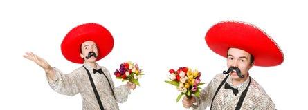 有阔边帽帽子的滑稽的墨西哥人 免版税图库摄影