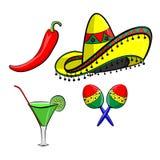 有阔边帽的玛格丽塔,墨西哥胡椒和maracas EPS 10导航,编组为容易编辑 没有开放形状或路径 免版税库存图片