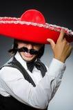 有阔边帽的滑稽的墨西哥人 库存图片