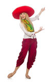 有阔边帽跳舞的墨西哥女孩在白色 库存图片