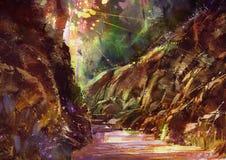 有阳光的美丽的秋天森林 免版税库存照片