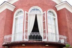 有阳台的Beatifull房子在老镇,巴统,乔治亚 免版税库存照片
