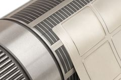 有附上灵活的磁性圆筒为冲切死在用于标签制造业的苯胺印刷的新闻机器 免版税库存照片