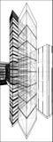 有隐藏线的传染媒介173都市摩天大楼 库存图片