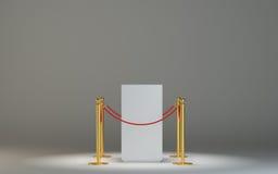 有障碍磁带的空的白色博物馆指挥台 向量例证