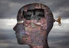 有集成电路和机制的利用仿生学的人头在脑子 免版税库存图片