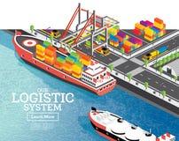有集装箱船的等量海港 桥式起重机在船装载货物 港基础设施 向量例证