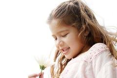 有雏菊的女孩在公园。 免版税库存照片