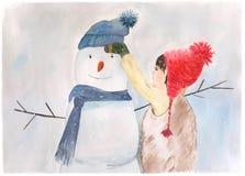 有雪人的,水彩例证小女孩 免版税图库摄影