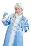 有雪剥落的俄国圣诞节女孩  库存图片