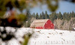 有雪和森林的爱达荷谷仓 免版税库存照片