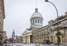 有雪和Bonsecours市场的-蒙特利尔,魁北克,加拿大老蒙特利尔 图库摄影