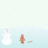 有雪撬的女孩 库存图片