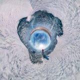 有雪撬的游人沿贝加尔湖蓝色冰走 球状360全景一点行星 库存图片
