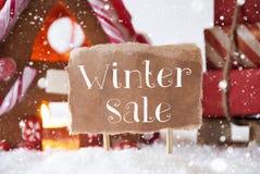 有雪撬的,雪花,文本冬天销售华而不实的屋 库存图片