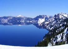有雪的冰川湖在山在早期的春天 免版税库存图片