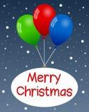 有雪的圣诞快乐气球 免版税图库摄影