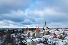 有雪的在冬天,爱沙尼亚塔林老镇 免版税库存照片