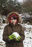 有雪的孩子 库存照片