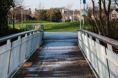有雪的桥梁 库存照片