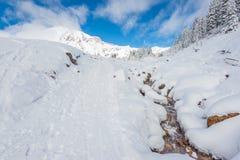 有雪的河盖子在天堂区域,更加多雨mt风景的看法  库存照片