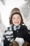 有雪的男孩 免版税库存图片