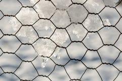 有雪的铁丝网 免版税库存图片