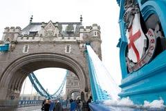 有雪的,伦敦,英国塔桥梁 库存图片
