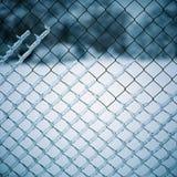 有雪的, Kolomenskoe,莫斯科,俄罗斯铁丝网 免版税库存图片