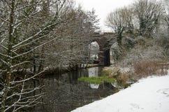 有雪的贝辛斯托克运河 免版税库存照片
