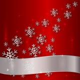 有雪花和白色丝带的传染媒介红色板材 库存图片