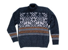 有雪花样式的被编织的毛线衣 免版税库存照片