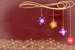 有雪花的四个圣诞节装饰品碗 免版税库存图片