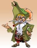 有雪茄的矮小的漫画人物海盗在他的嘴 库存照片