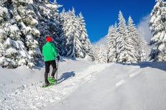 有雪鞋子的运动人在冬天足迹 免版税库存图片