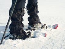 有雪靴步行的人腿在雪 冬天高涨细节在随风飘飞的雪的 免版税图库摄影