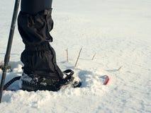 有雪靴步行的人腿在雪 冬天高涨细节在随风飘飞的雪的 图库摄影