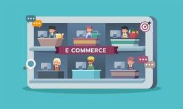 有零售商或卖主的,电子商务流动市场 图库摄影