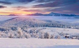 有雾的冬天日出的全景在山村 免版税库存照片