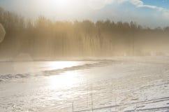 有雾的冬天风景 免版税库存照片