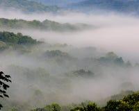 有雾的小山 库存照片
