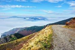 有雾的山早晨 库存照片