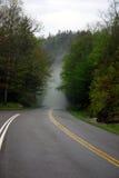 有雾的山路 库存照片